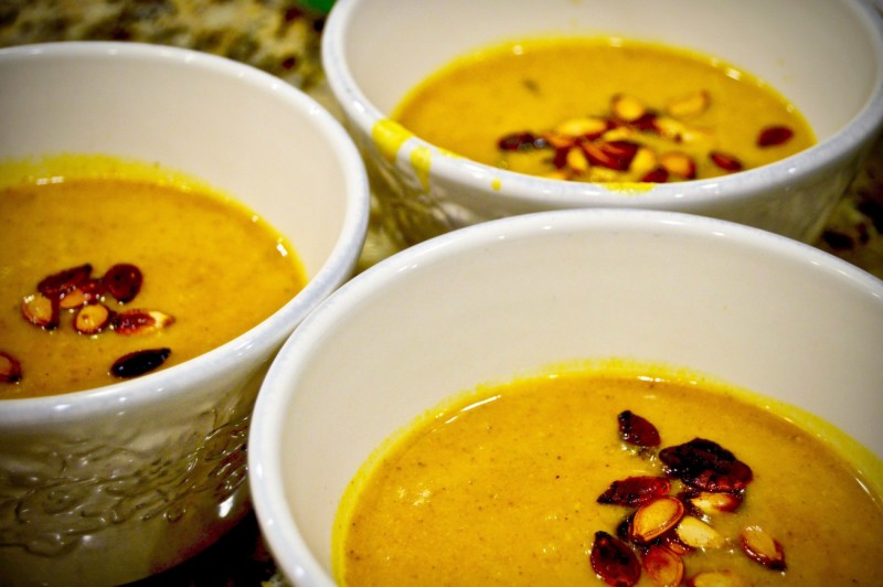 Soup ready to eat, garnished with roasted pumpkin seeds