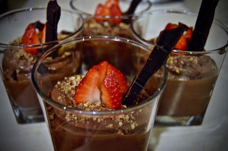 Chocolate Mousse garnished and ready to be devoured. There's a separate stomach for dessert, right?