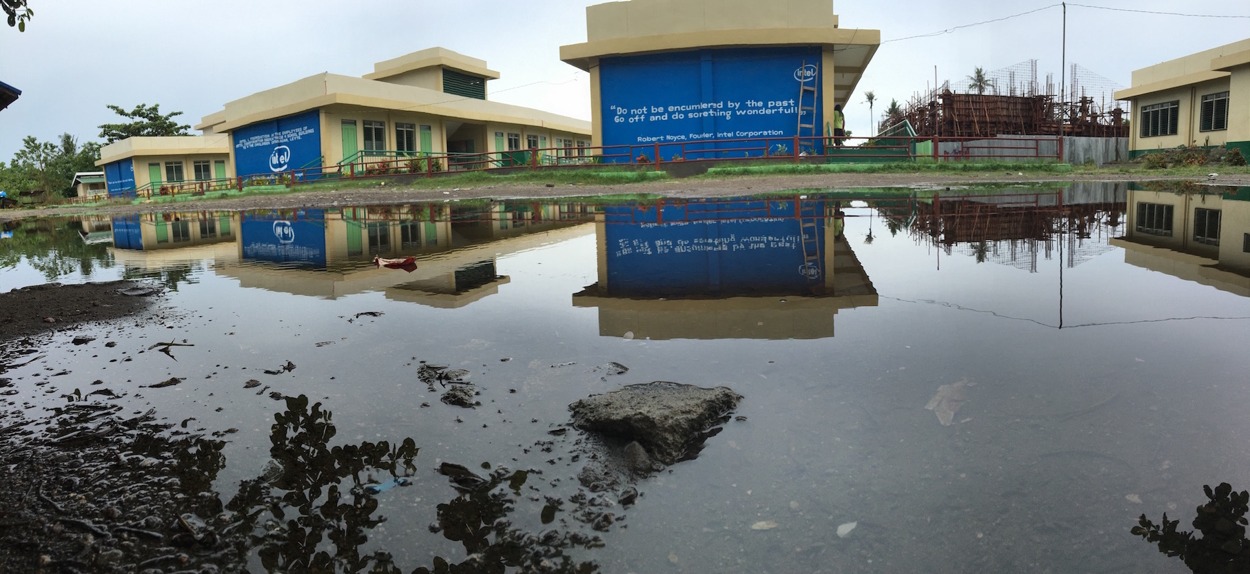 giant puddle in front of school